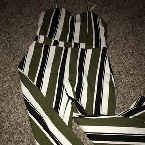 Green and white jumpsuit
